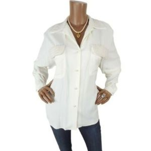 EXPRESS L FAUX PEARL Trim Button Down Blouse Ivory